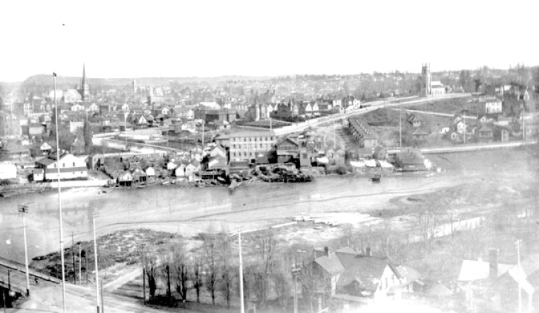 Victoria from the Legislative Buildings, looking northeast towards Church Hill over the James Bay mud flats. Courtesy BC Archives A-00252
