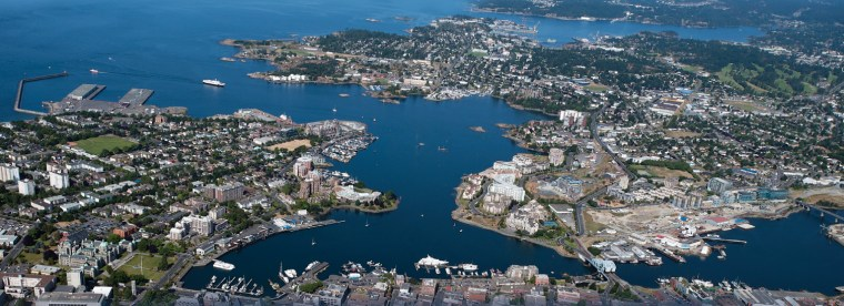 A panorama of Victoria's harbour in the foreground and Esquimalt's harbour in the background