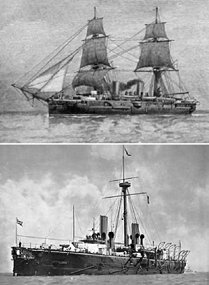 HMS Warspite, about 1885, with her original 2 brig masts and with sailing rig removed and single military mast. Wikimedia Commons