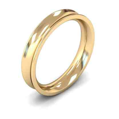 4mm concave yellow gold ring heavy