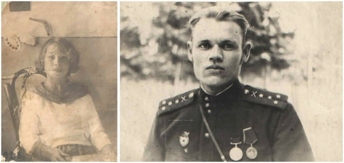 Old faded photographs from the 1920's of a young woman and young man in uniform