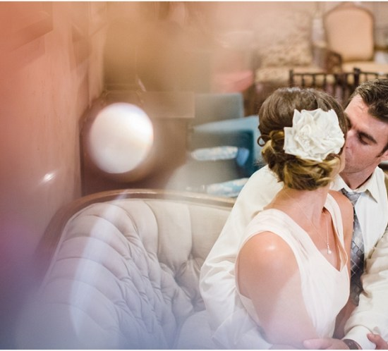 Creative portrait of the bride and groom at the Vintage Rose in Orange