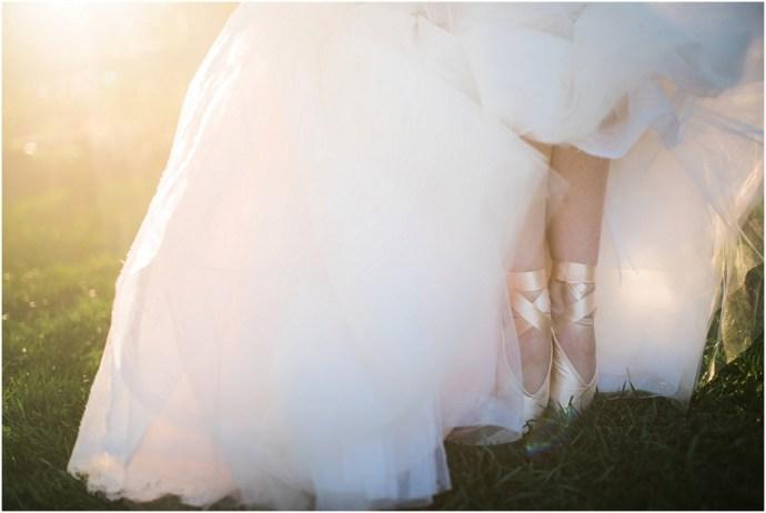 Pale pink wedding dress idea with pink ballet shoe