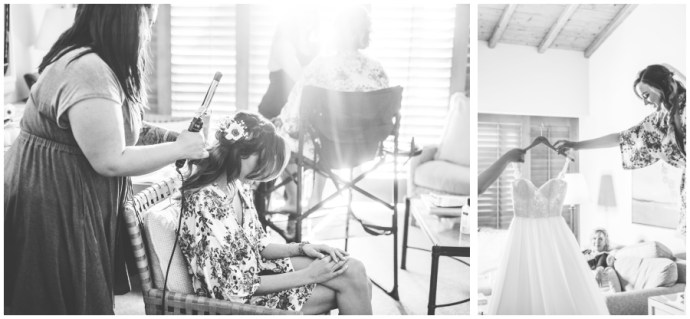 Diptych of two images. Bride getting her hair down for wedding, and bride reaching for her wedding dress
