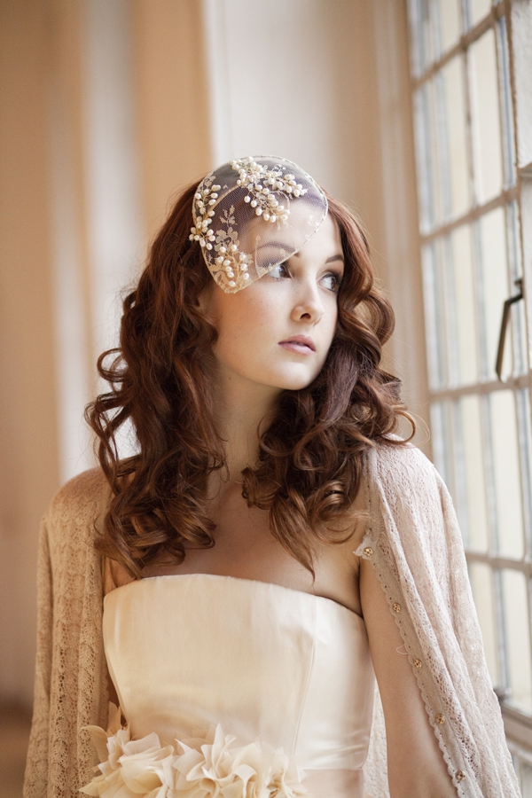 Vintage Style Lace and Pearl Bridal Cap