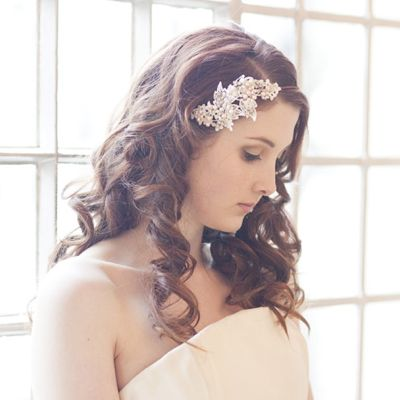 Lace and Antique Rhinestone Side Tiara