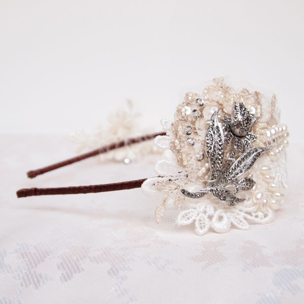 SOLD - Vintage Lace and Marcasite Double Cluster Bridal Side Tiara No.120