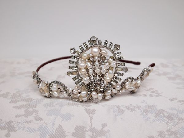 Vintage Rhinestone and Pearl Art Deco Head Band No.124