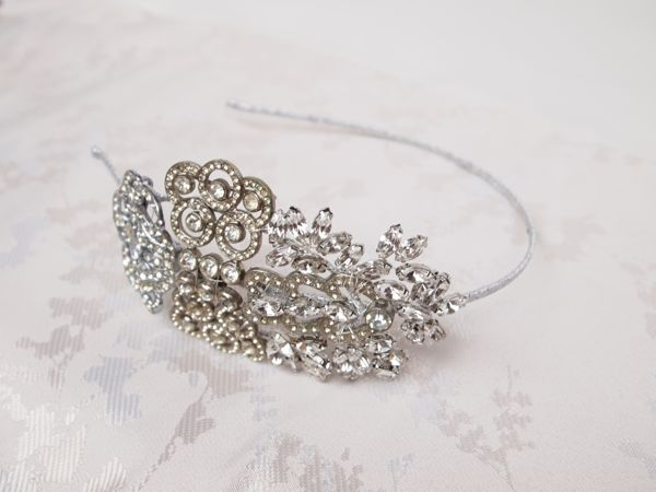 SOLD - Vintage Rhinestone Art Deco Side Tiara No. 125