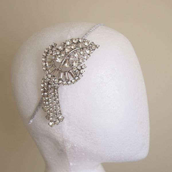 SOLD - Vintage Rhinestone Art Deco Side Tiara No. 127