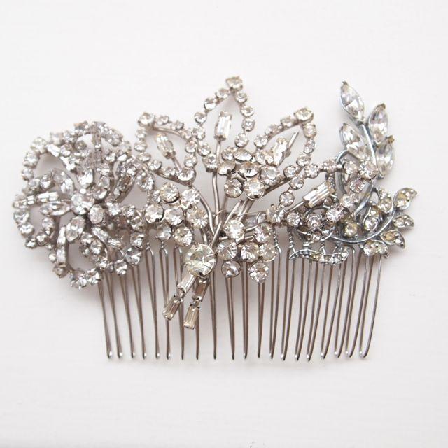 Vintage Art Deco Rhinestone Bridal Comb No. 129