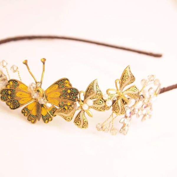 SOLD - Gold Butterfly Vintage Tiara No.13104