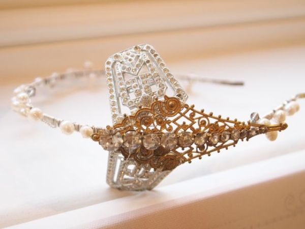 Vintage Art Nouveau Dragonfly Gold Side Tiara No.13109