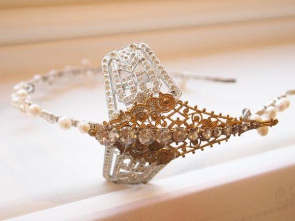 Vintage Art Nouveau Dragonfly Gold Side Tiara No.13109