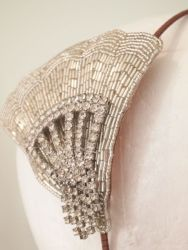 Vintage Art Deco Beaded Rhinestone Fan Side Tiara No.13115
