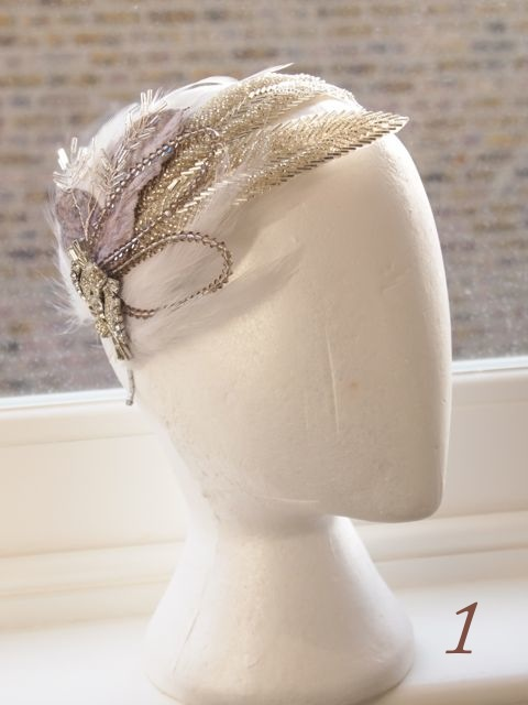 Back in stock! Jazz Age Sparkle and Feather Vintage Bridal Cap
