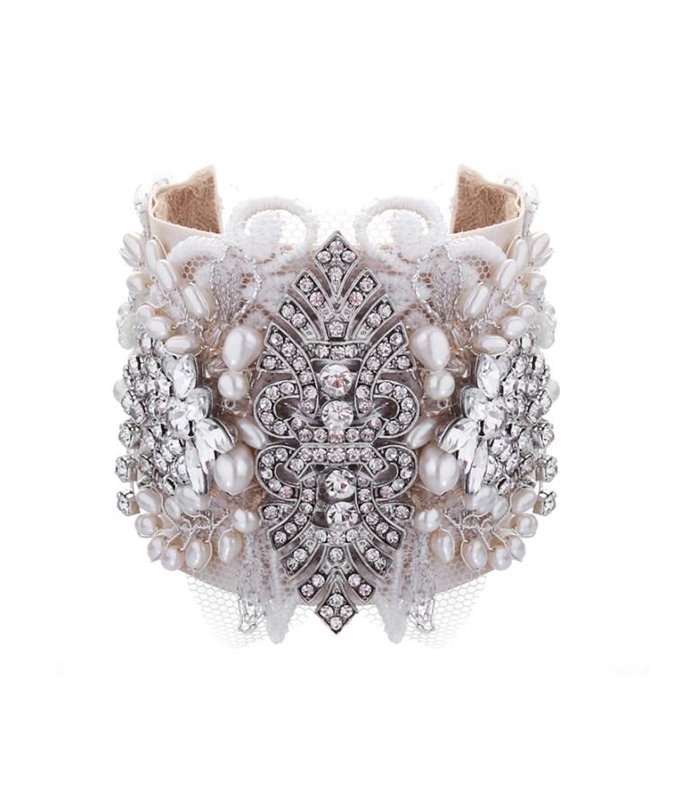 Celebration Lace and Rhinestone Bridal Cuff No.16
