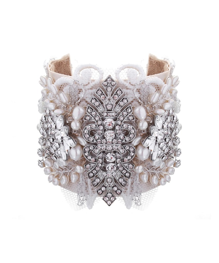 Celebration Lace and Rhinestone Bridal Cuff No.16