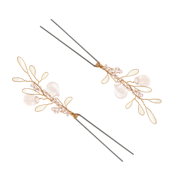 VICTORIA MILLESIME GD-P10-Rose-Quartz-Gold-Hairpin-2