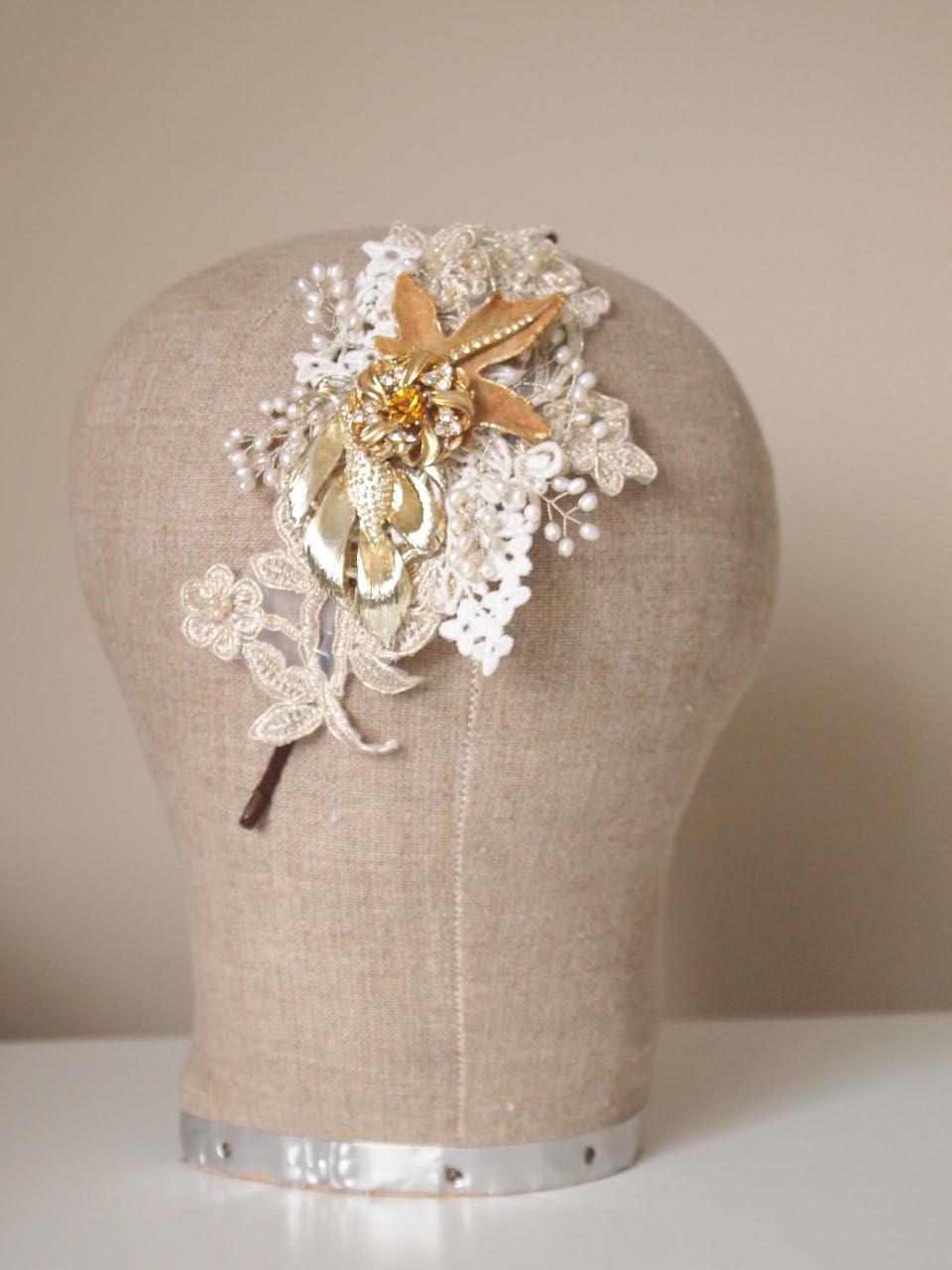 Vintage Lace Pearl And Blue Rhinestone Headdress No13113