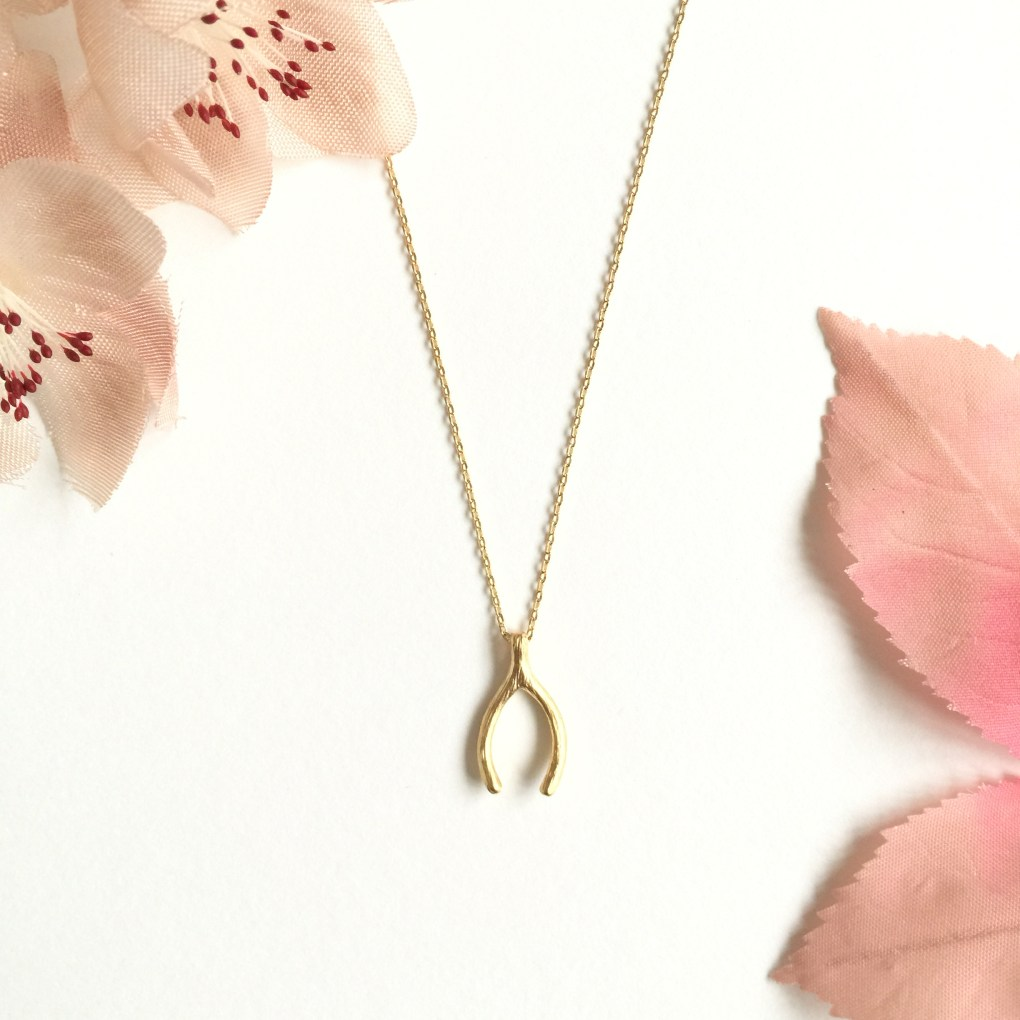 Gold Wishbone Bridesmaid Necklace Gift