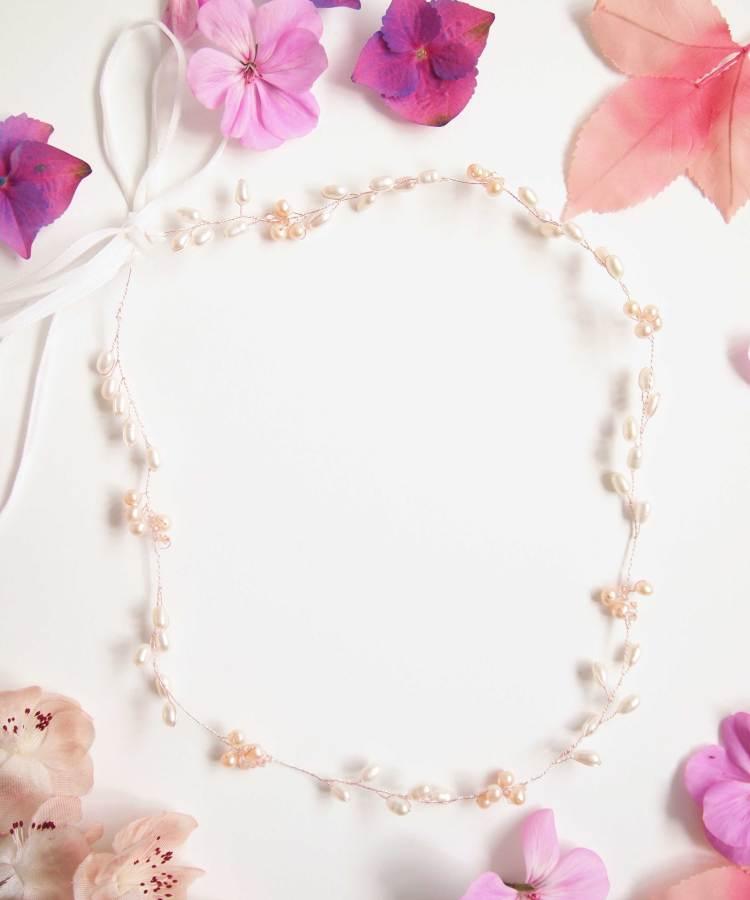 Handmade Pearl Floral Bridal Halo
