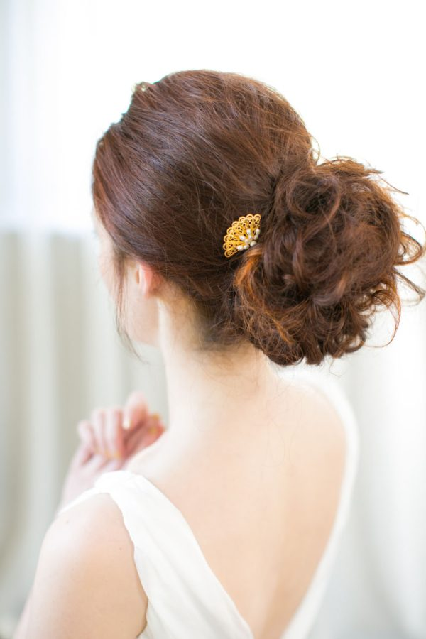 Handmade Gold Art Deco Bridal Hair Pin