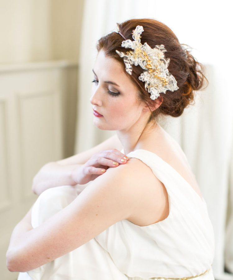 Handmade Gold Lace Bridal Headpiece