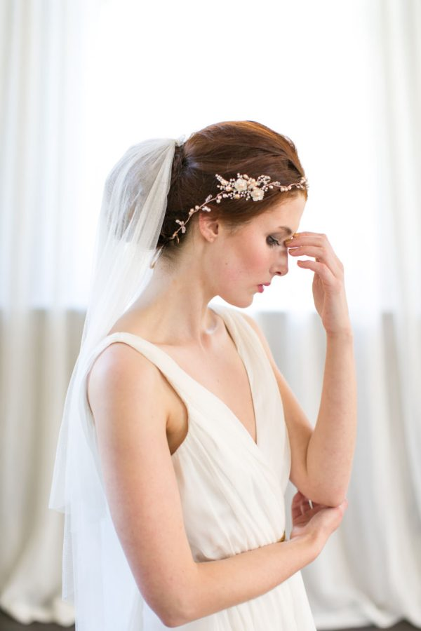 Handmade Rose Gold Bridal Halo