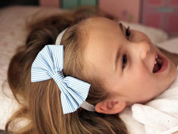 Baby Girl Summer Garden Party Blue Hair Bow