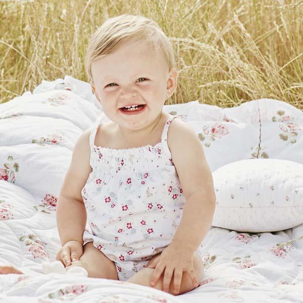 Baby Girl Summer Garden Party Romper Suit