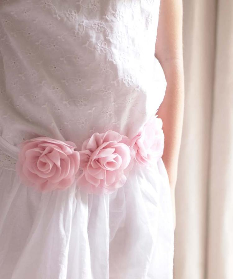 Flowergirl Blush Pink Rose Sash Belt