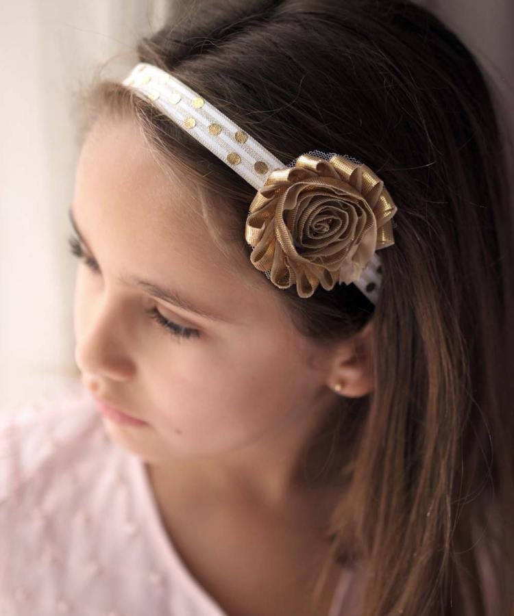 Flower girl Gold Headband