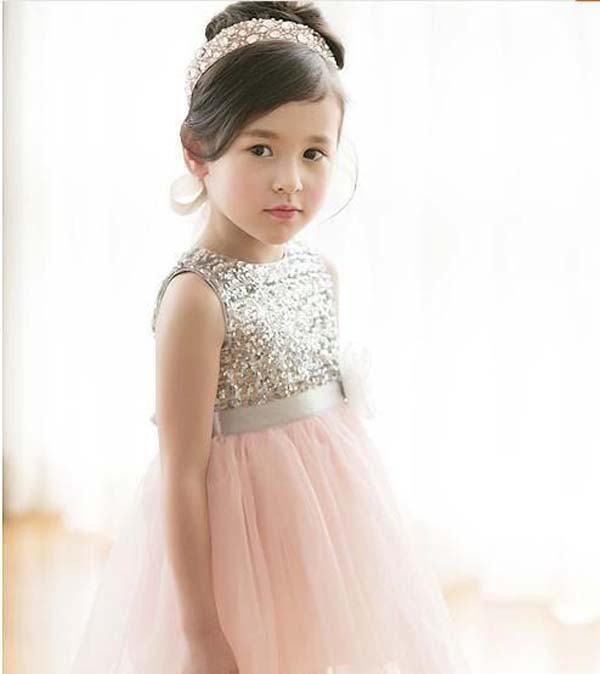 blush pink and gold flower girl