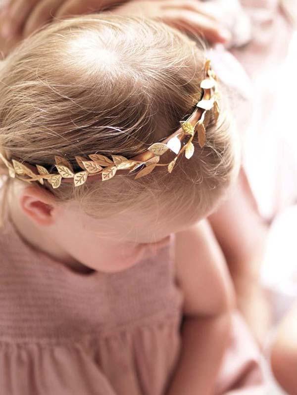 gold flower girl crown