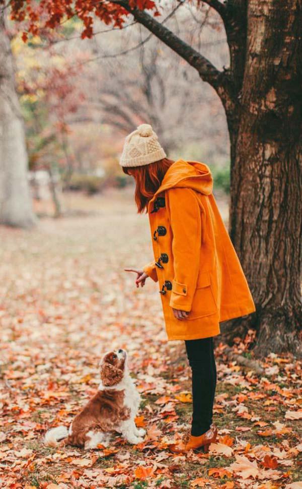 autumn walks in orange duffle coat