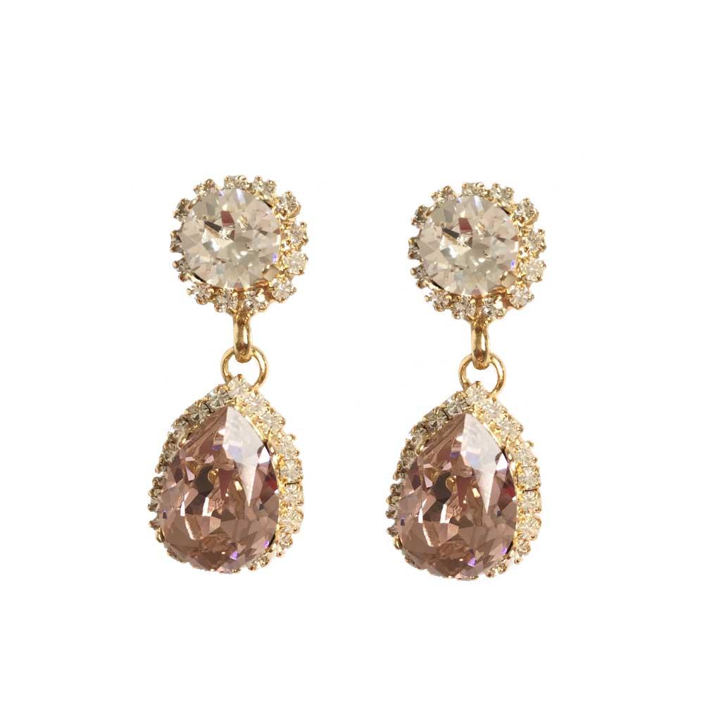 Bespoke Swarovski bridal earrings blush pink