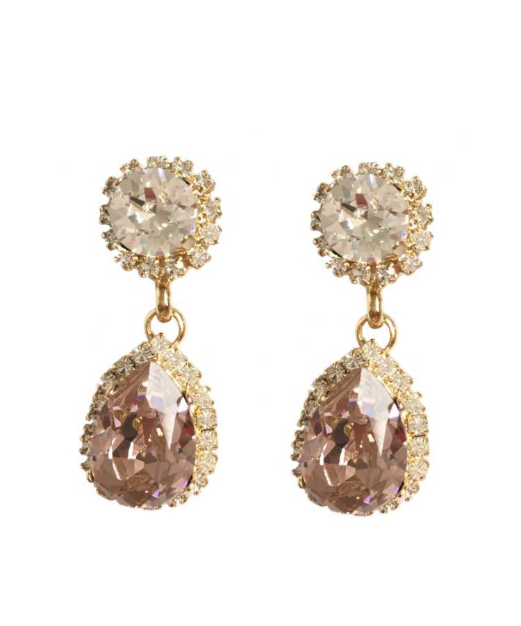 Bespoke Swarovski bridal earrings blush pink