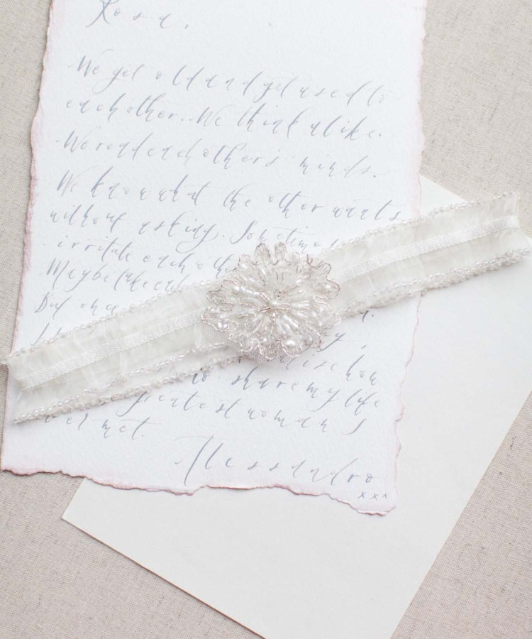Ivory Garters Wedding: Orchid Wedding Garter In Blush Pink, Nude Or Ivory