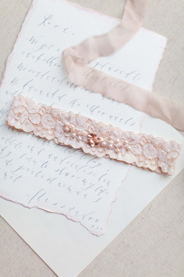 Orchid wedding garter in blush pink nude or ivory for Garter under wedding dress