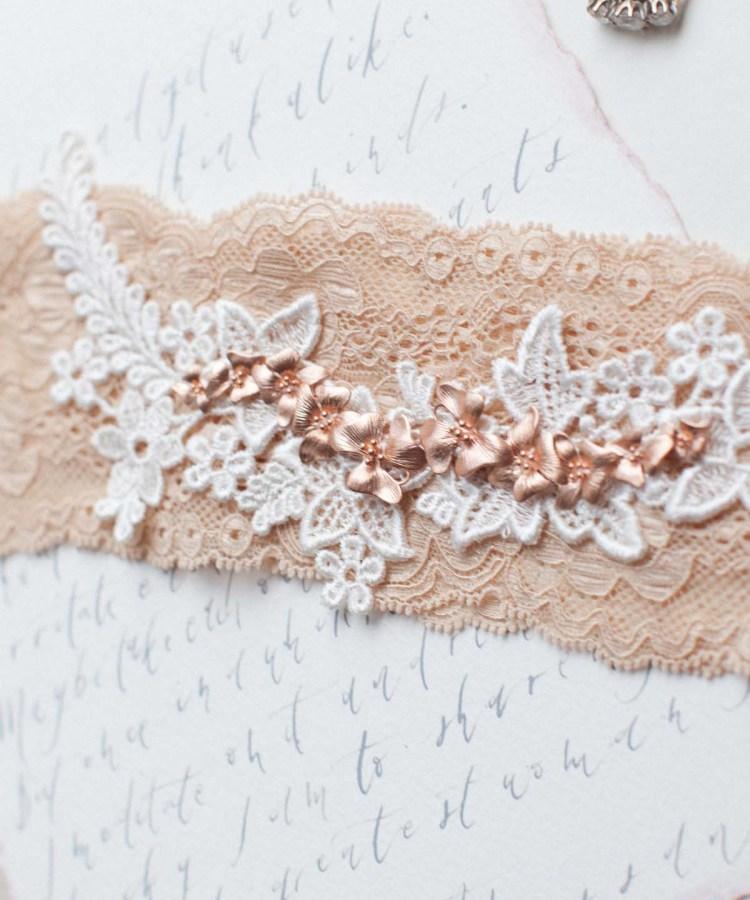 double orchid blush pink wedding garter belt
