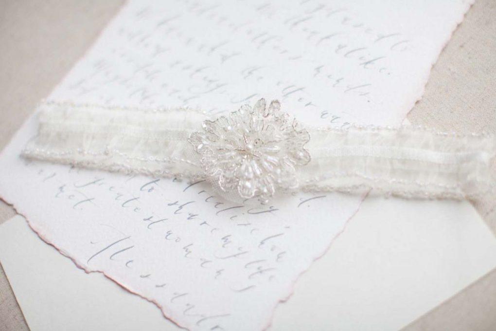 ivory beaded wedding garter belt