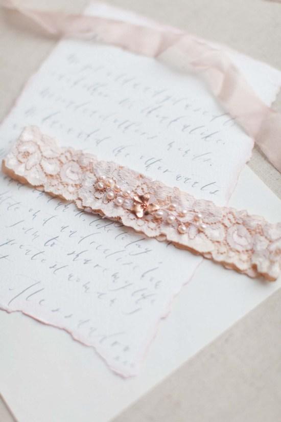 blush pink bridal garter