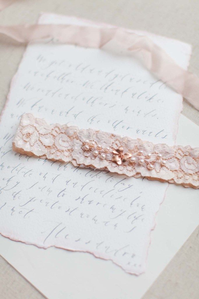 blush pink wedding garter