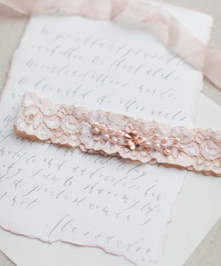 blush pink wedding garter