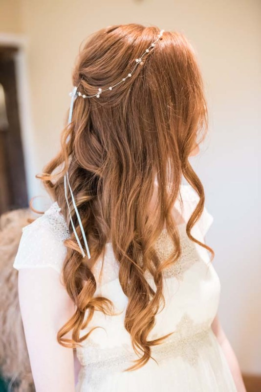 pearl bridal halo on long hair