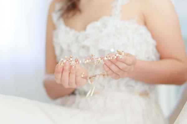 Amber gold floral bridal halo