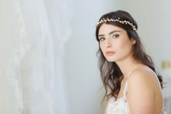 Amber gold floral bridal halo