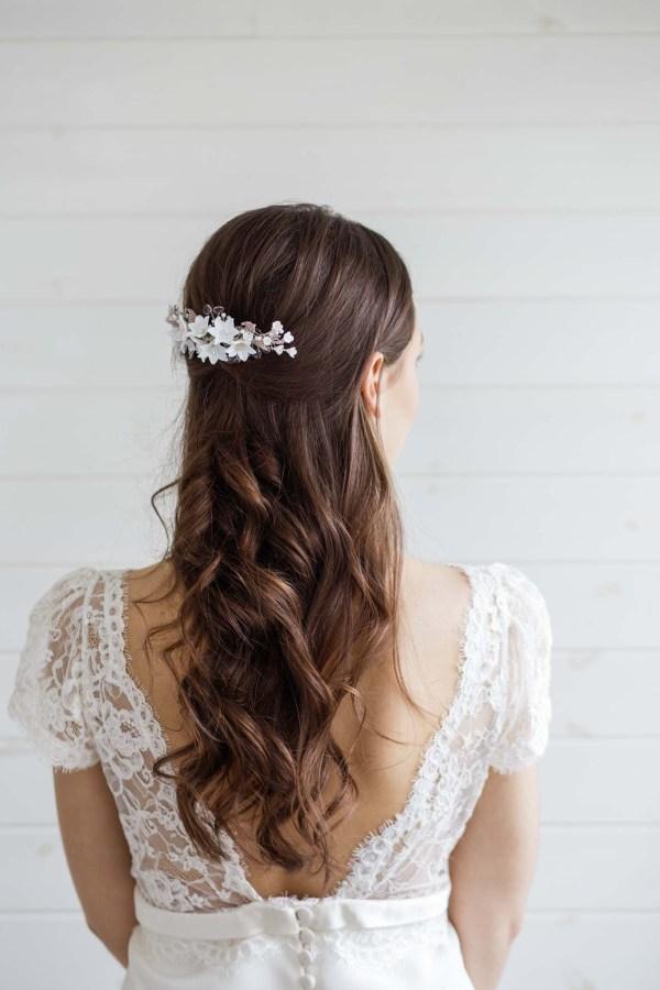 clay flower wedding hair comb