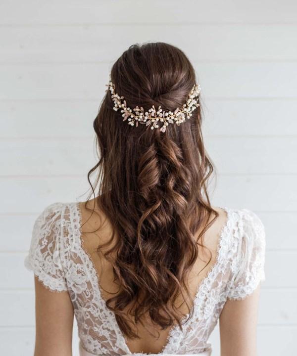 Aster Statement Long Wedding Hair Vine